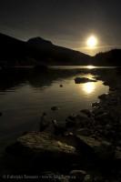 SUN SETTING on MEDICINE LAKE, Jasper National Park, Alberta, Canada photo