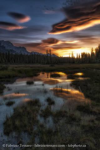 Sunrise, kootenay plains alberta, rocky mountains