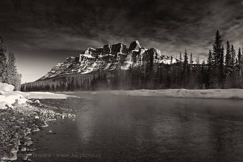 CASTLE MOUNTAIN and FOG on the BOW RIVER