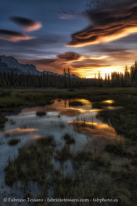 Sunrise, kootenay plains alberta, rocky mountains photo