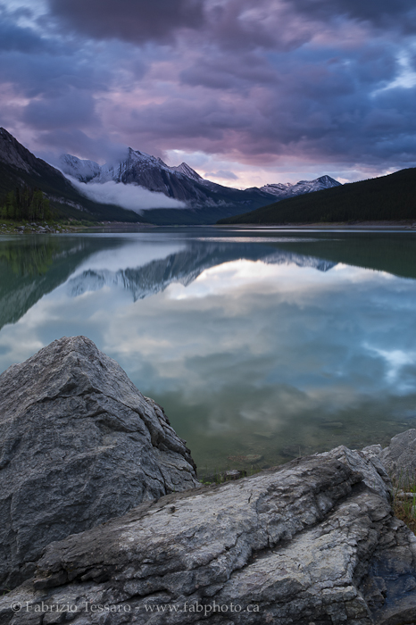 MEDICINE LAKE in July, Jasper National Park, Alberta, Canada