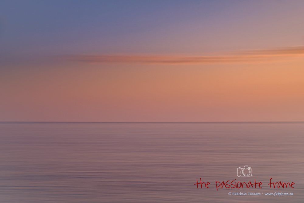 An abstract frame after sunset looking out into the ocean in Manarola, Cinque Terre Italy.
