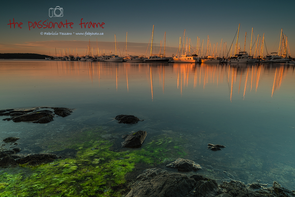 A peaceful evening as the sun sets near the Marina in Sidney, Vancouver Island, British Columbia.