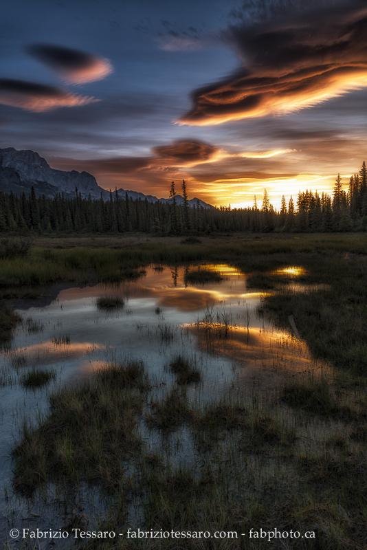 Sunrise, kootenay plains alberta, rocky mountains, photo