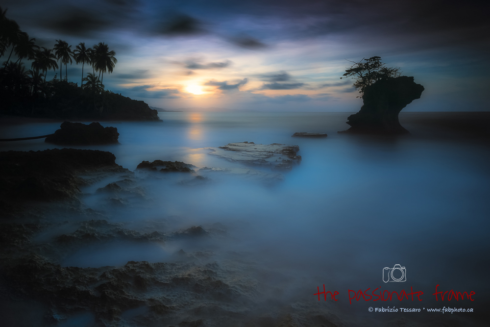 A two minute exposure was used to create this lunar like landscape at sunset on a secluded beach in Gondoca Manzanillo Wildife...
