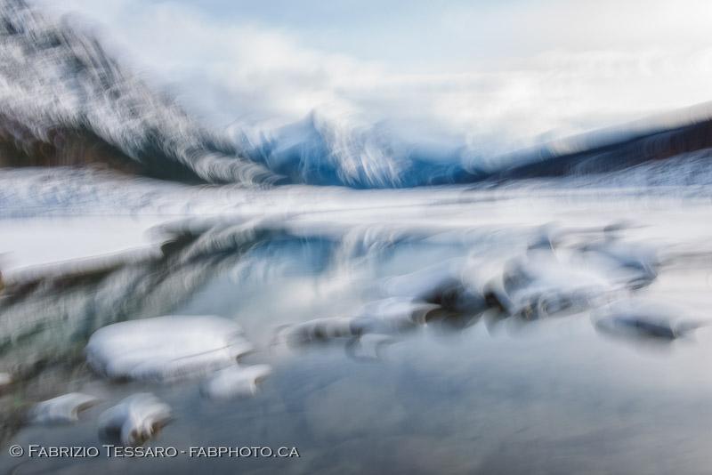 Jasper National Park, Medicine Lake, winter, abstract, impression, photo