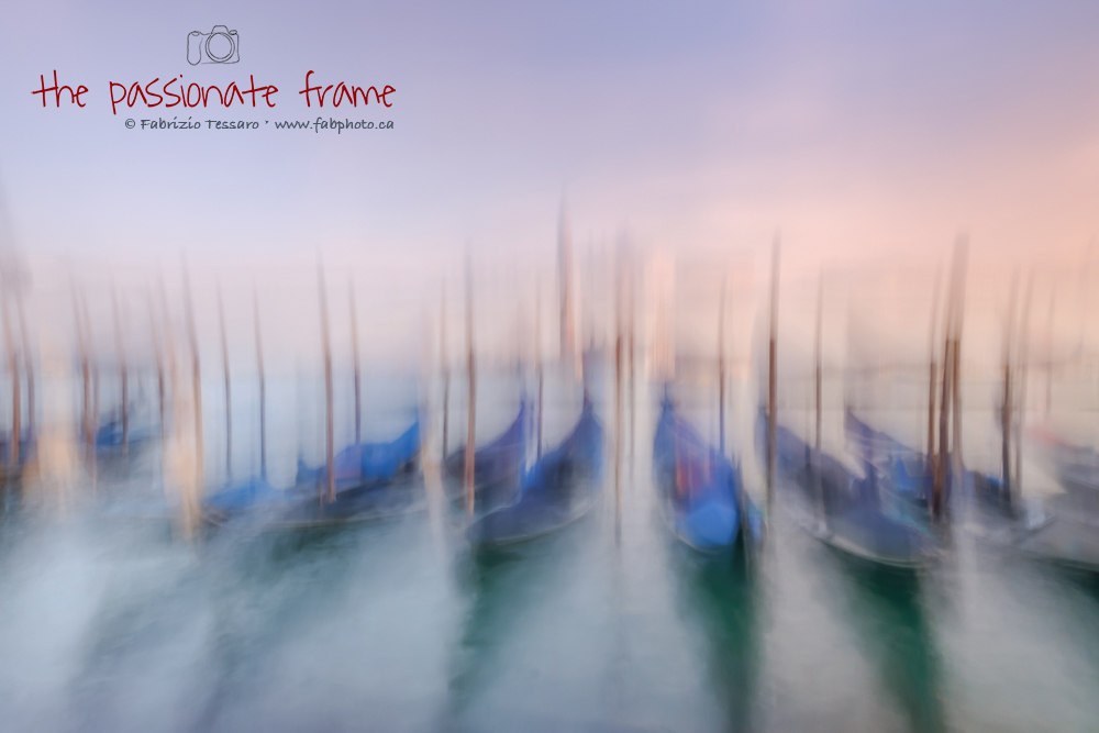 Nothing is more recognizable than the gondolas in Venice. Intentional camera movements created this water-color painting like...