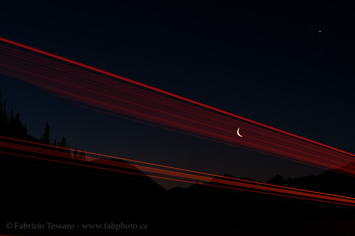 Crescent moon in the rockies, Jasper National Park, Alberta, Canada, photo