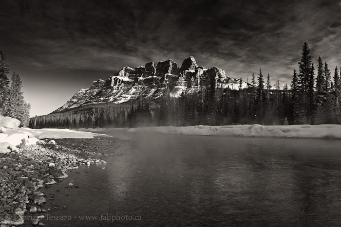 CASTLE MOUNTAIN and FOG on the BOW RIVER, Banff National Park,, photo