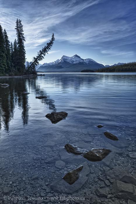 MALIGNE LAKE in November, Jasper National Park, Alberta, Canada, photo