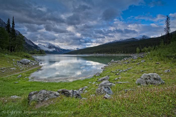 MEDICINE LAKE in July, Jasper National Park, Alberta, Canada, photo