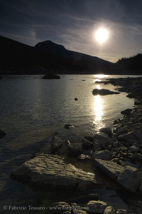 SUN SETTING on MEDICINE LAKE, Jasper National Park, Alberta, Canada, photo